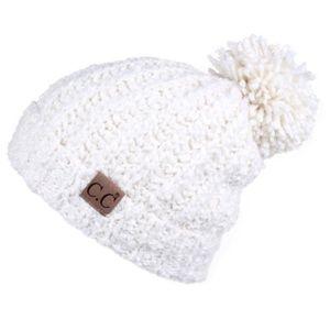 C.C Chenille Hat with Pom Ivory 1f0ba47c6c16